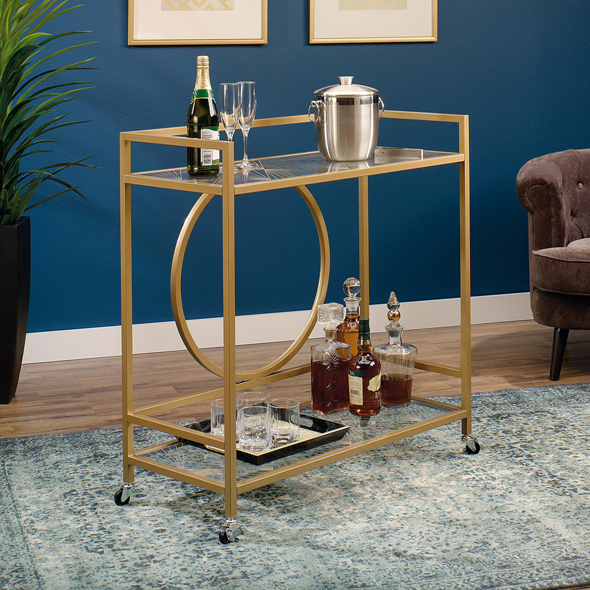 Sauder International Lux Bar Car, Satin Gold