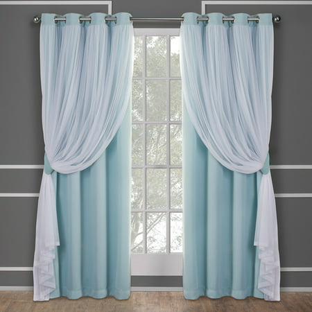 Exclusive Home Curtains 2 Pack Catarina Layered Solid Blackout and Sheer Grommet Top Curtain Panels ()