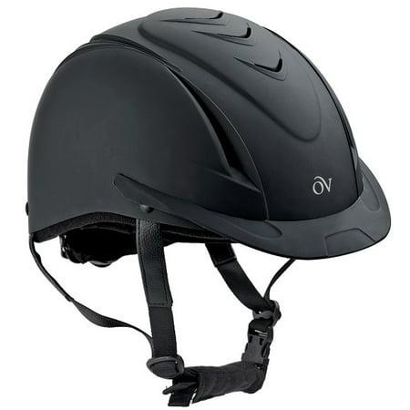 Ovation Comfortable Ventilated Deluxe Schooler Helmet Black Leather Helmet Bib
