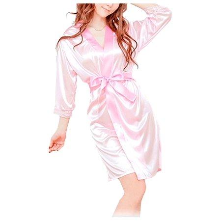 Rocky Italian Stallion Robe (Pink Short Satin Kimono Robe)