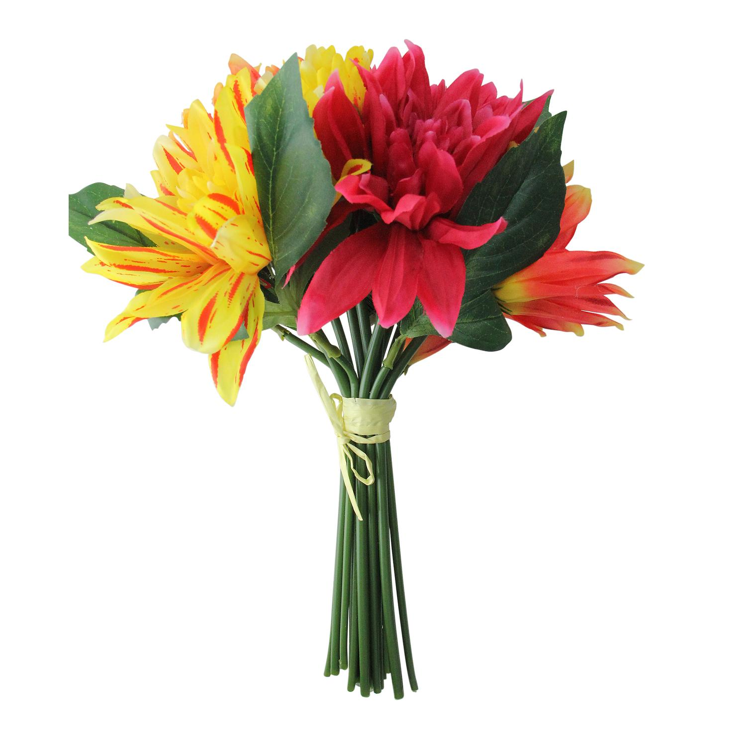 125 Red Yellow And Pink Artificial Decorative Elegant Dahlia Flower