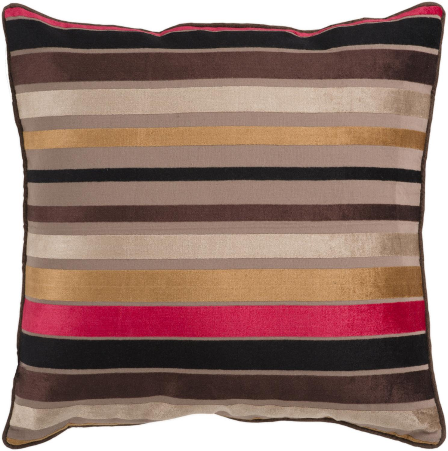 "18"" Bright and Vibrant Brown and Gold Striped Decorative Throw Pillow"