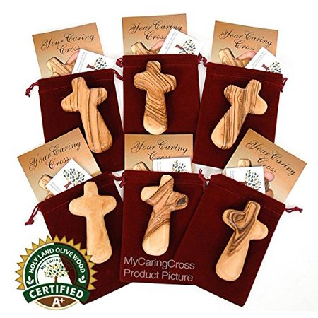 6 large handheld olive wood holding comfort Crosses with bags and certificates