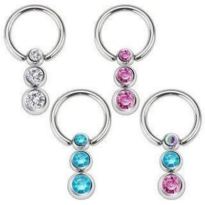 Nipple Gem Captive Bead Ring (Nipple Ring 316L 16g Surgical Steel Captive Bead Ring Cascading gems Sold as a pair)