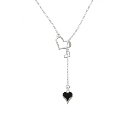 Long Lariat - Silvertone Small Long Black Heart - In My Heart Lariat Necklace