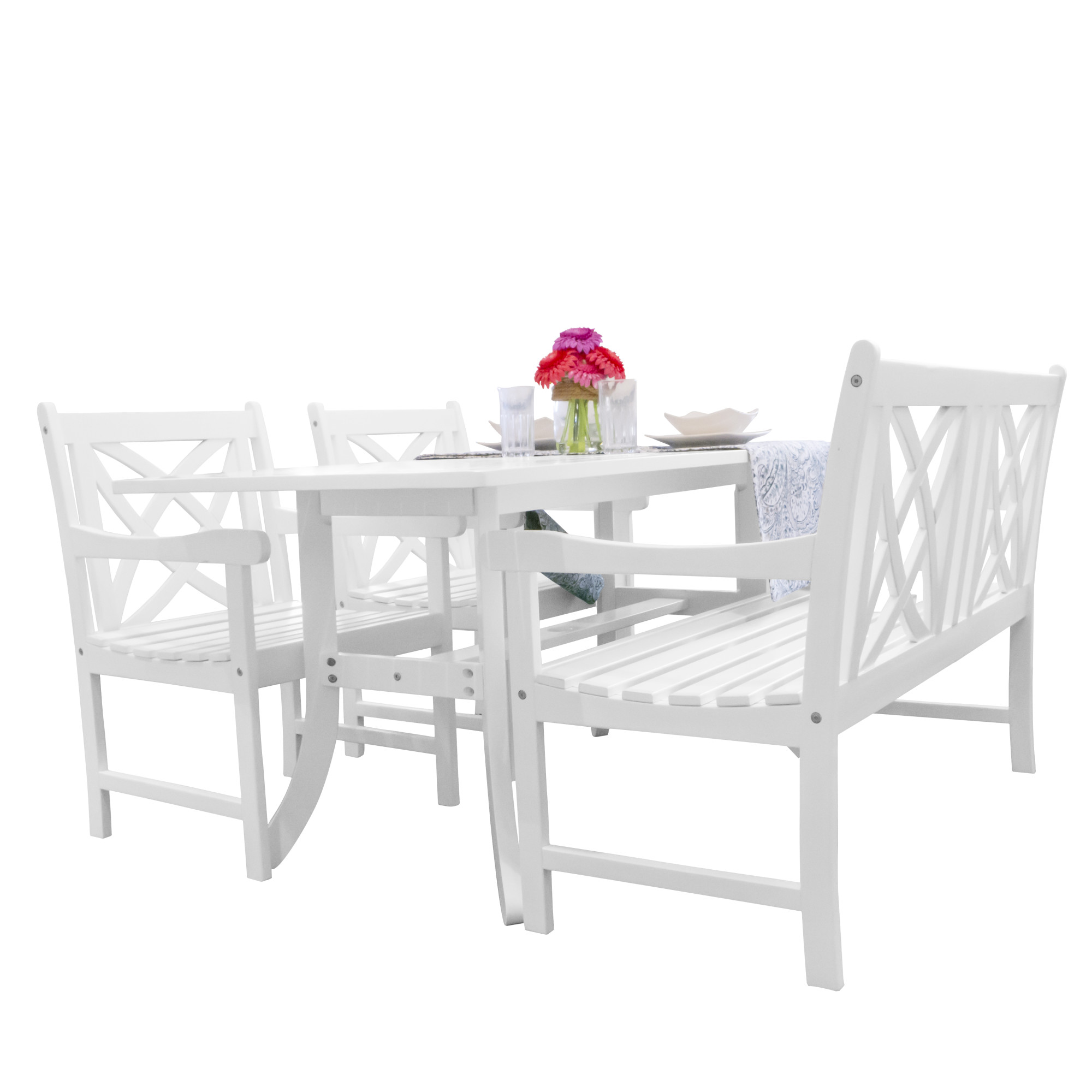Vifah V1337SET24 Bradley Acacia Dining Set Including Bench, Chairs and Dining Table