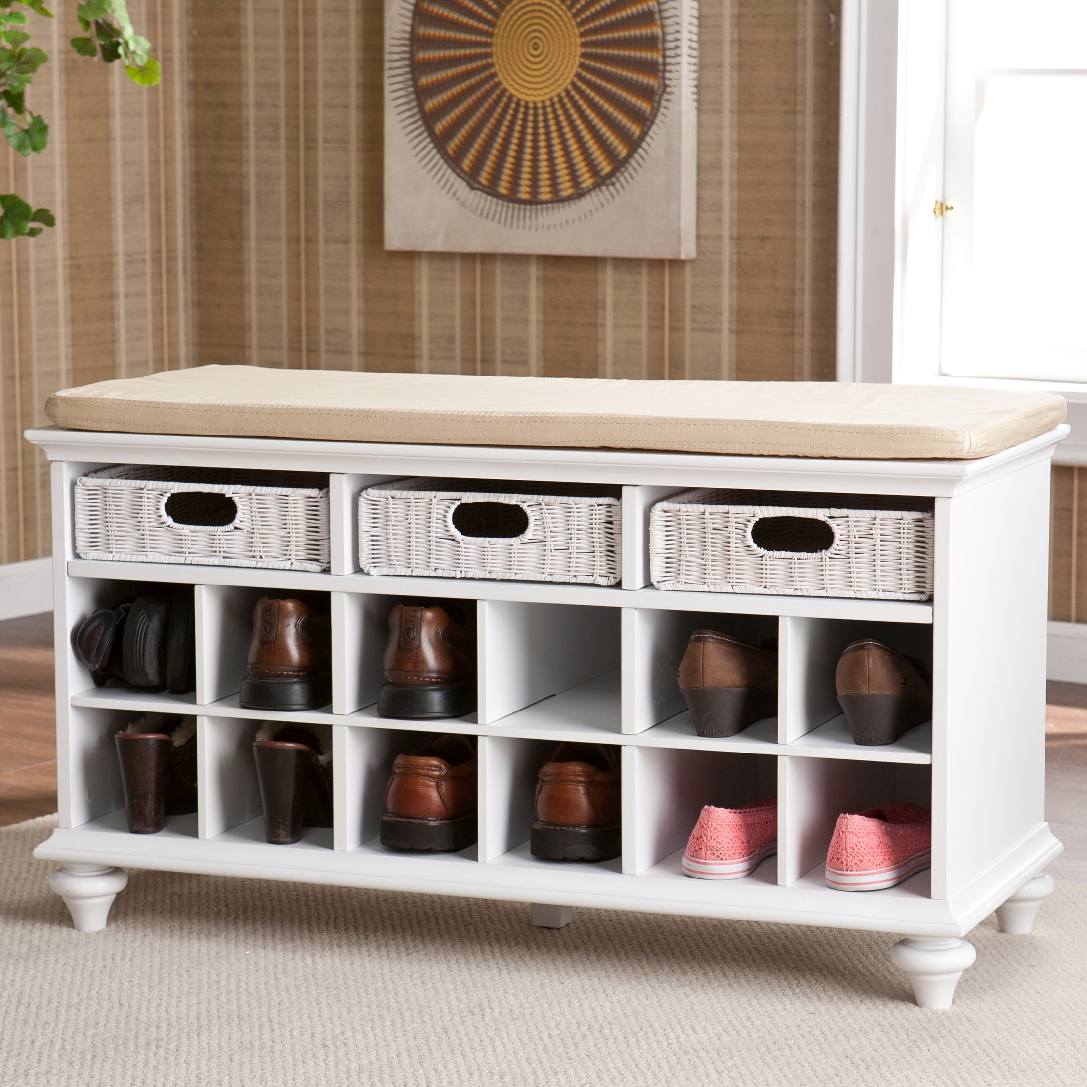 Upton Home Kelly White Entryway Bench with Storage