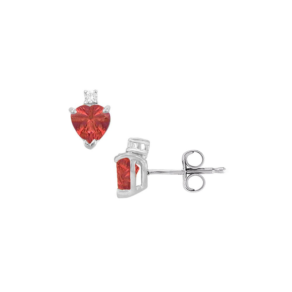 Cubic Zirconia and Created Ruby Stud Earrings 925 Sterling Silver 2.04 CT TGW - image 2 of 2