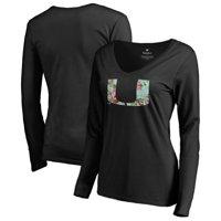 Miami Hurricanes Fanatics Branded Women's Lovely Long Sleeve V-Neck T-Shirt - Black