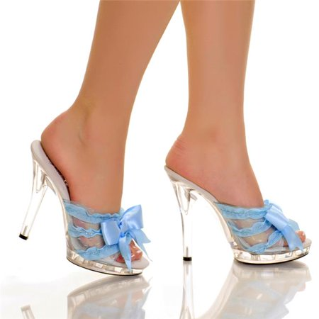 Highest Heel QUEST-101-LTBL-5 5 in. Platform Mule with Satin Bow & Lace Vamp, Ultra Light Blue - Size 5 - image 1 of 1