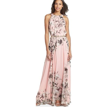 Women Boho Floral Print Long Chiffon Dress Sleeveless Skirts Summer Beach Sun Dress Gown Casual Plus Size (Dress Suits For Women Plus Size)