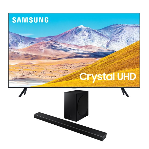 "Samsung UN43TU8000 43"" Crystal 8 Series 4K Ultra High Definition Smart TV with a Samsung HW-Q60T Wireless 5.1 Channel Soundbar and Bluetooth Subwoofer (2020)"