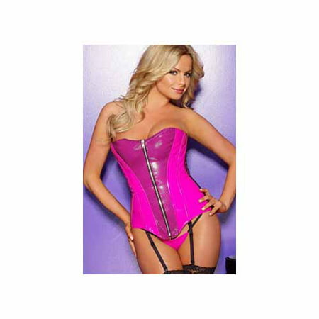 Allure Leather Vinyl Corset - Allure Leather Pink Vinyl & Black Fishnet Overlay Corset 11-8037 Pink