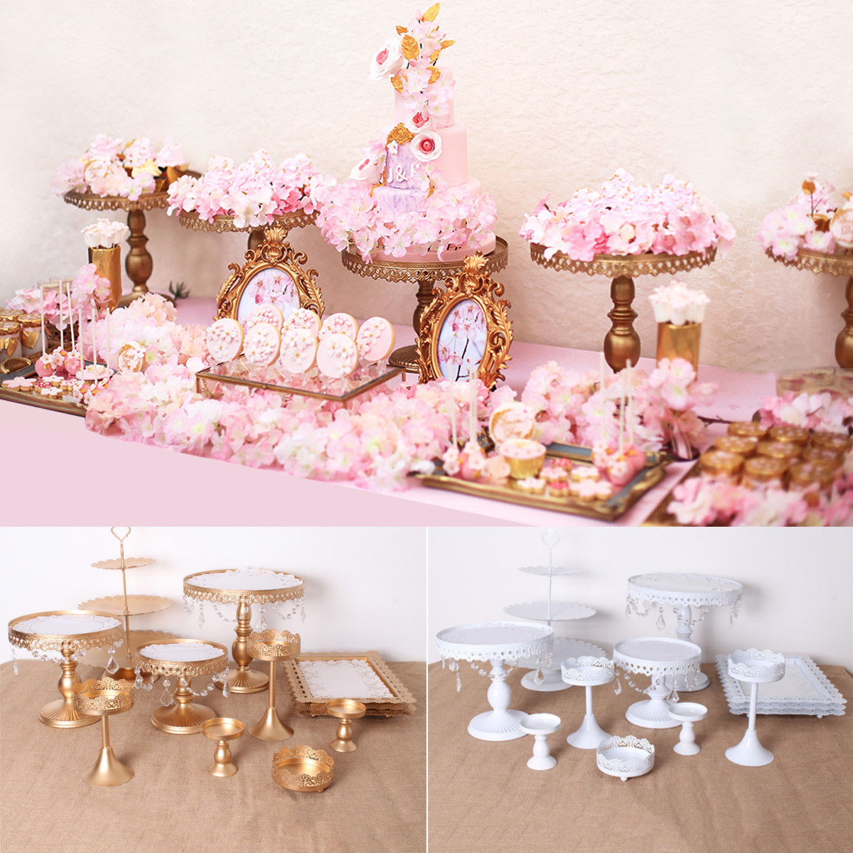 12Pcs Set Crystal Metal Cake Holder Cupcake Stand Birthday Wedding Party Display