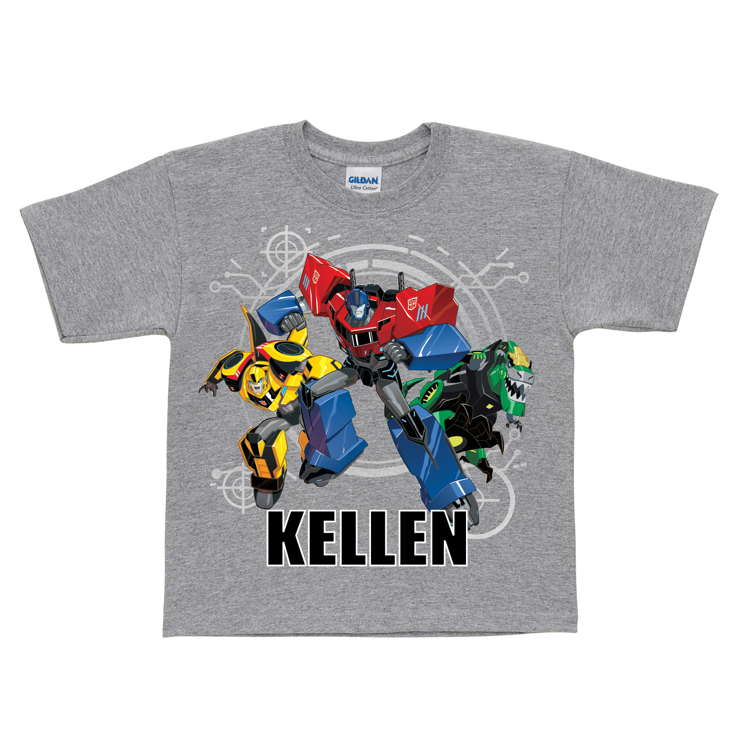 Personalized Gray T-Shirt - Transformers Robots in Disguise