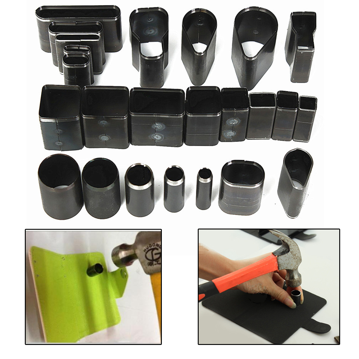 24pcs/set 24 Shape Styles Hole Hollow Cutter Punch Set For Handmade Leather Craft DIY Tool For Making Cellphone Holster