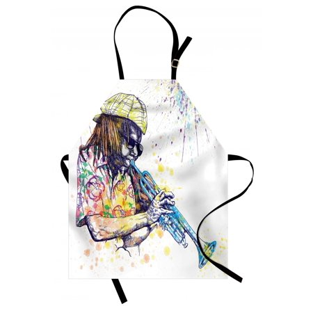 Jazz Music Apron Illustration of Trumpeter with Paint Splashes at the Background Entertainment, Unisex Kitchen Bib Apron with Adjustable Neck for Cooking Baking Gardening, Purple Yellow, by Ambesonne