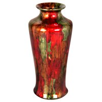 """24"""" Foiled & Lacquered Ceramic Floor Vase - Ceramic, Lacquered In Green, Red And Copper"""
