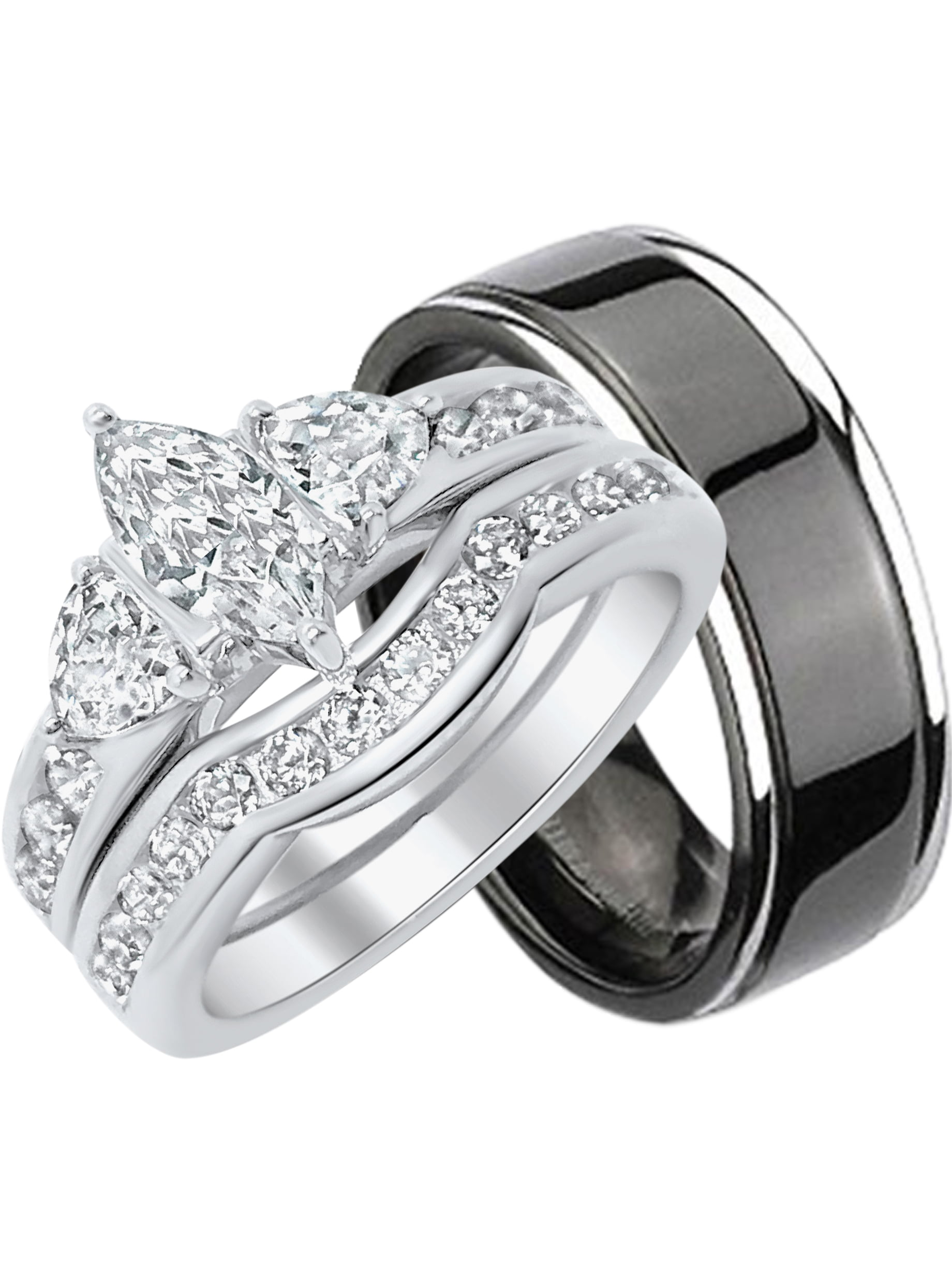 Laraso Co His Hers Cz Wedding Ring Set Sterling Matching