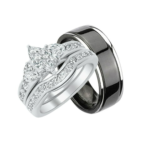 Black Titanium Segment Rings - His Hers CZ Wedding Ring Set Sterling Matching Silver Black Titanium Bands for Him Her