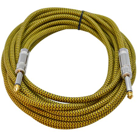 18 Instruments (Seismic Audio  - 18 Foot Yellow Woven Cloth Guitar Cable - Instrument Cable 18' - SAGCSYW-18)
