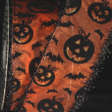 Metallic Sheer Black and Orange Halloween Pumpkins and Bats Wired Craft Ribbon 2.5