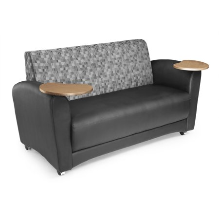 OFM InterPlay Series Model 822 Double Tablet Sofa, Black Seat with Nickel Back and Bronze Tablet