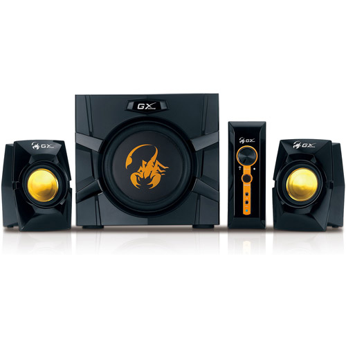 Genius GX Gaming SW-G2.1 3000 2.1 Speaker System, Black/Yellow