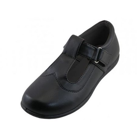 Girls Back to School Shoes T Strap With Velcro Black Sizes 11-3.