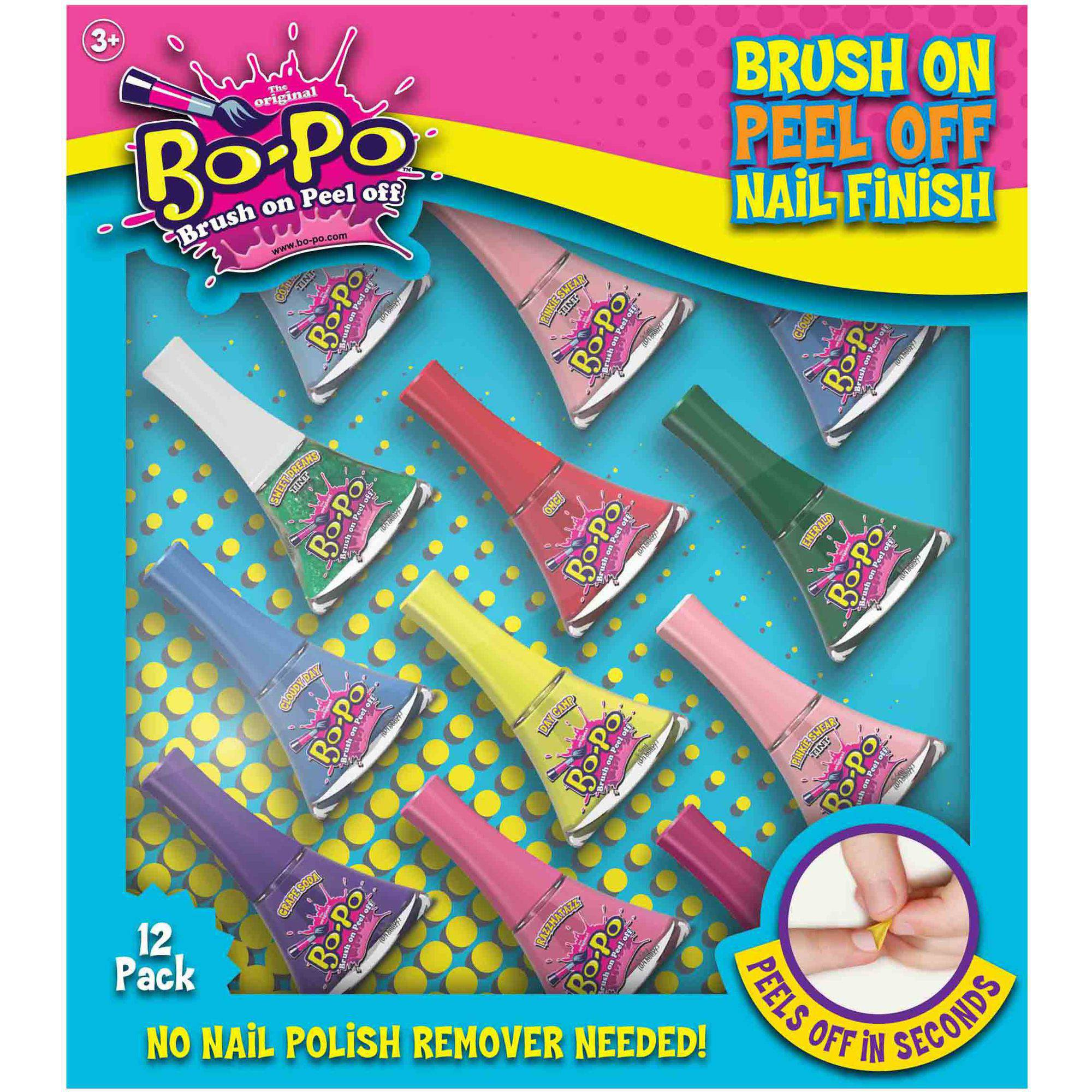 Bo-Po Brush-On-Peel-Off Nail Polish Variety Pack, 0.186 fl oz, 12 count