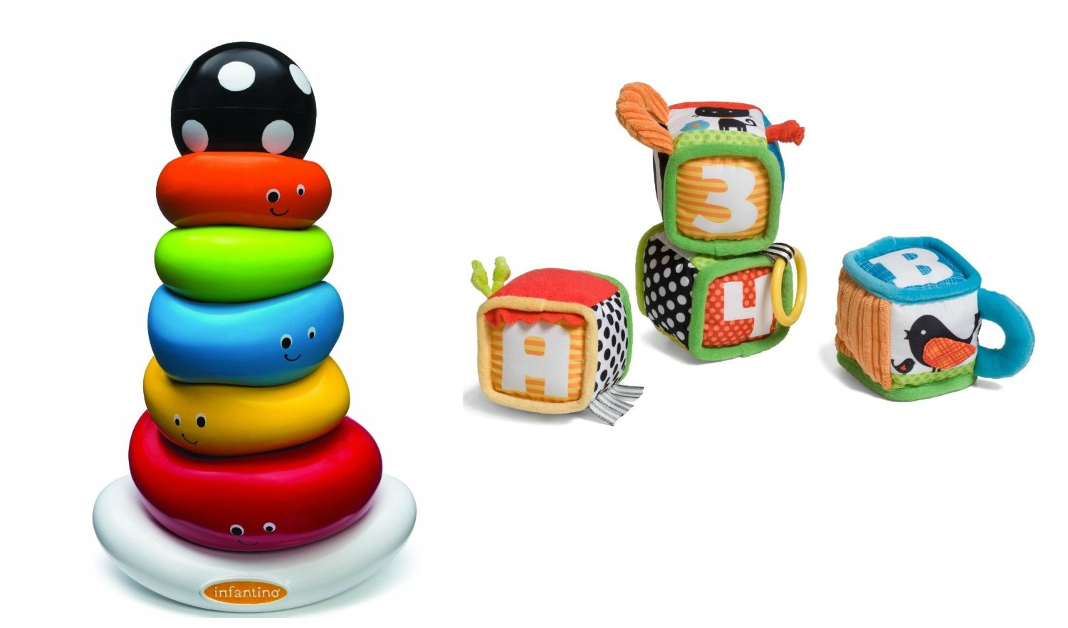Infantino Discover and Play Soft Blocks with Funny Face Ring Stacker by Infantino