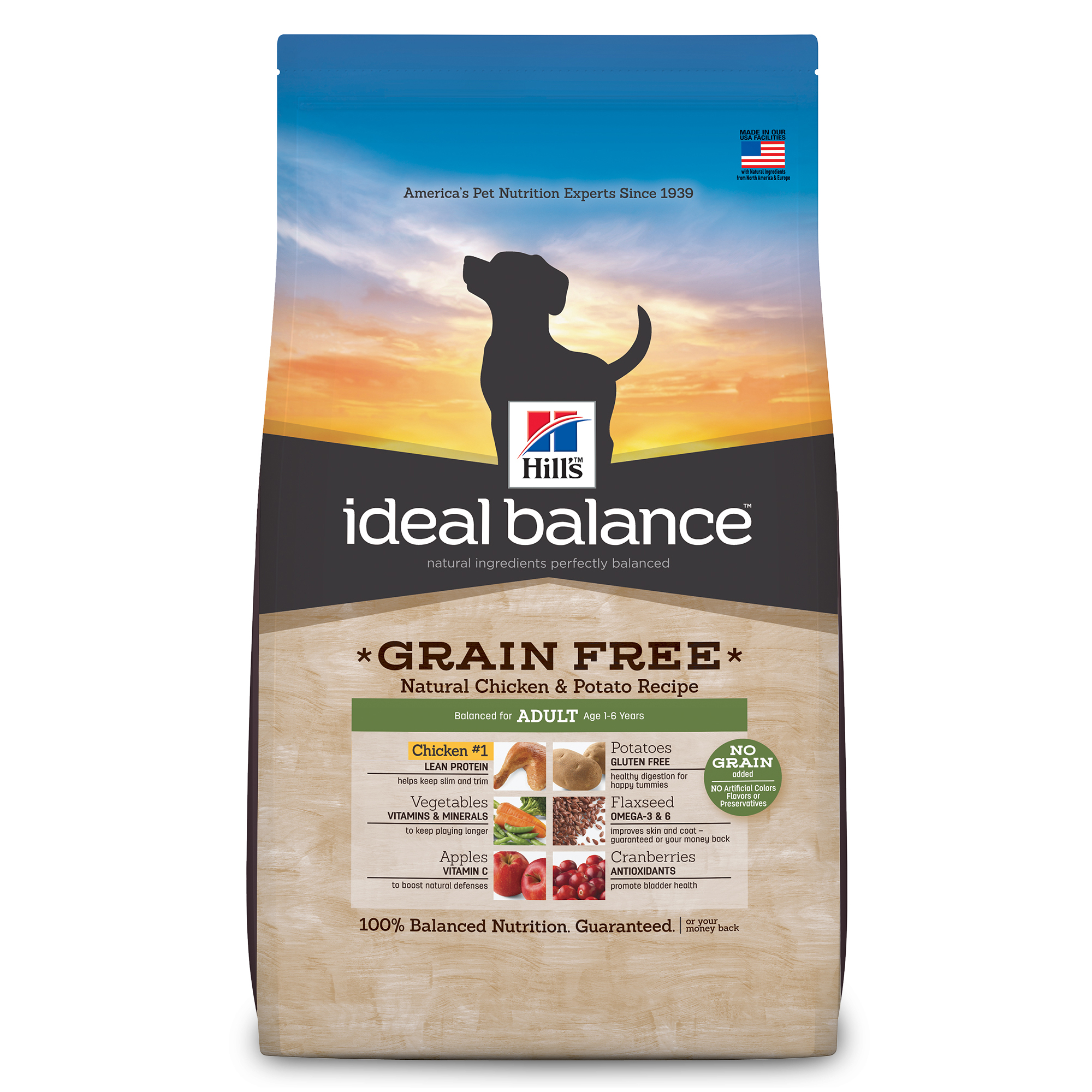 Hill's Ideal Balance (Get $5 back for every $20 spent) Adult Grain Free Natural Chicken & Potato Recipe Dry Dog Food, 21 lb bag