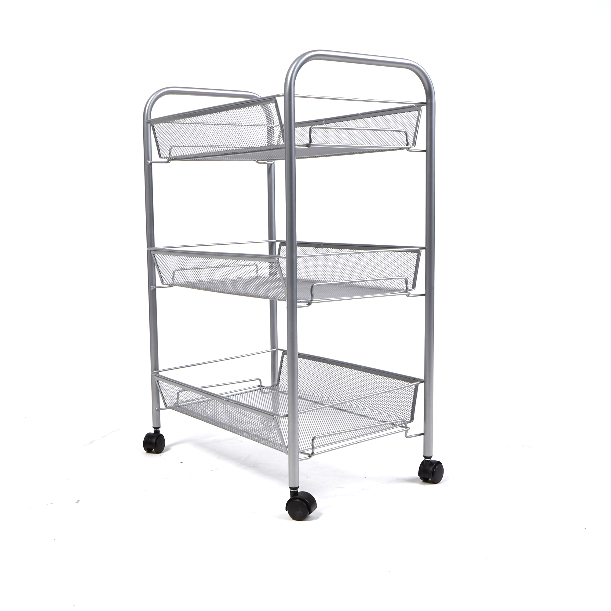 Mind Reader 3 Tier Metal Mesh All Purpose Utility Cart with Wheels, Silver