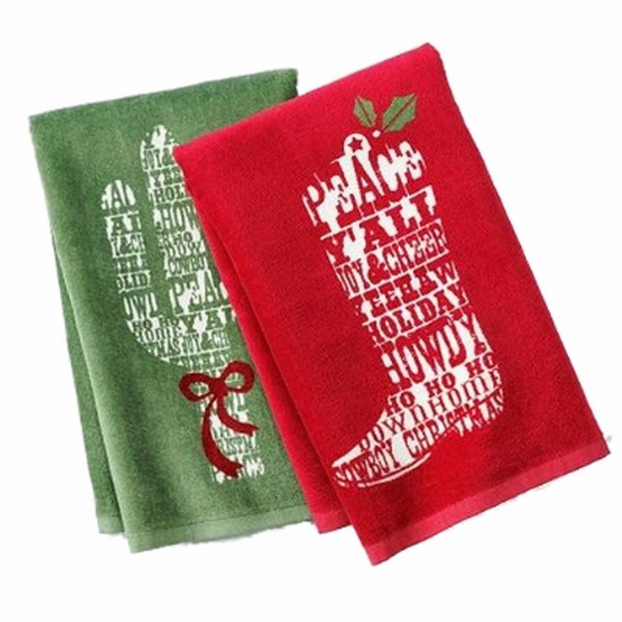 St Nicholas Square Cowboy Christmas Kitchen Towel Set Boot & Cactus