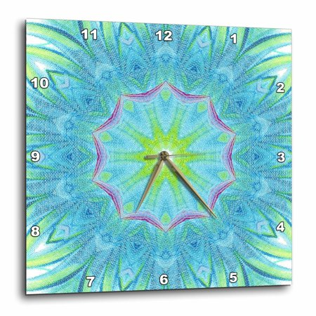 3dRose Blue Red Yellow Pinwheels Kaleidoscope Pattern - Wall Clock, 10 by 10-inch