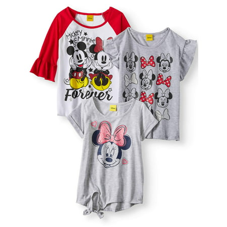 ce307eede Minnie Mouse - Minnie and Mickey Mouse T-Shirts, 3-Pack (Little Girls & Big  Girls) - Walmart.com