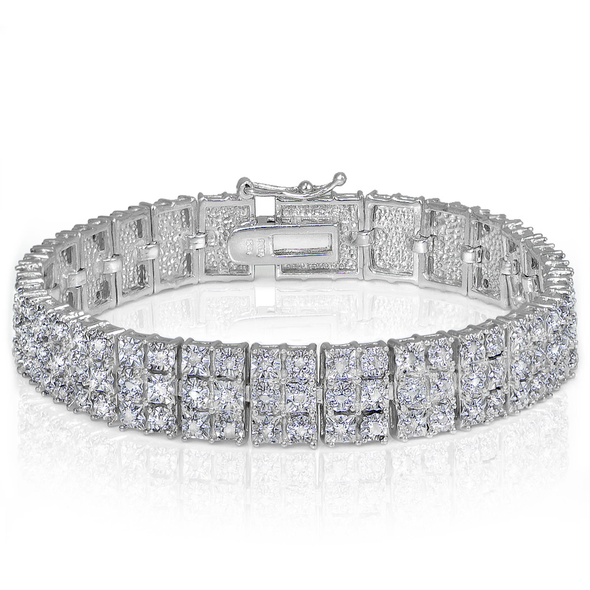 1 Carat T.W. Diamond Silver-Tone Miracle-Set 3-Row Tennis Bracelet by Generic