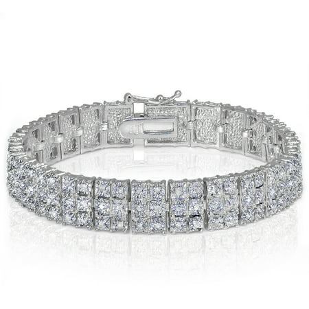 1 Carat T.W. Diamond Silver-Tone Miracle-Set 3-Row Tennis Bracelet