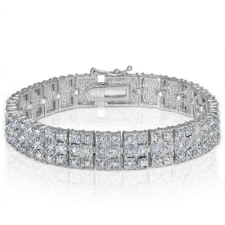 1 Carat T.W. Diamond Silver-Tone Miracle-Set 3-Row Tennis Bracelet