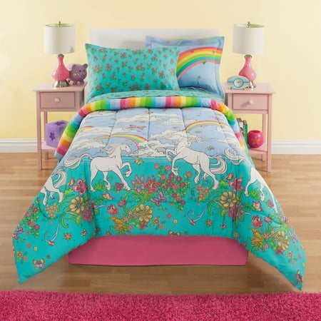 Twin Bed Sideline Comforter - Kidz Mix Unicorn Rainbow Bed In A Bag Kids Bedding Set w/ Reversible Comforter & Bonus Bed Skirt
