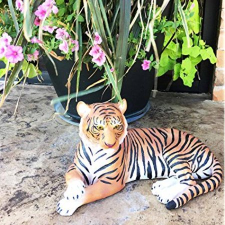 Large Raja The Royal Bengal Tiger Resting Gracefully 15.5 Long Statue Jungle Apex Predator Home Garden Outdoor Patio Decor Figurine