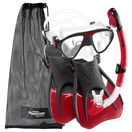 Phantom Aquatics Adult Signature Mask Fin Snorkel Set With Net Bag