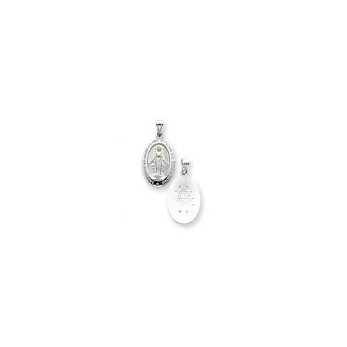 Jewelryweb 14k White Gold Reversible Miraculous Medal Pendant