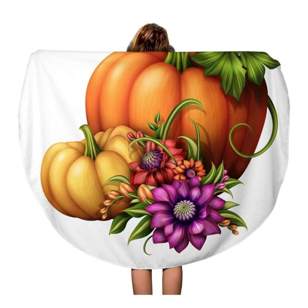 SIDONKU 60 inch Round Beach Towel Blanket Colorful Clipart Traditional Seasonal Pumpkins and Flowers Holiday Green Travel Circle Circular Towels Mat Tapestry Beach Throw