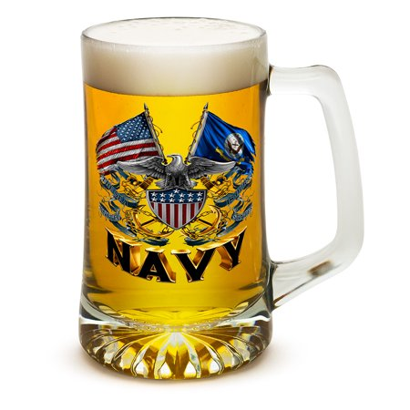 Beer Mugs with Handles – US Navy 25 oz Tankard Beer Mug – United States Navy Gifts for Men or Women – Double Flag Eagle Navy Shield Beer Glasses with Logo - Set of 12 (25 Oz)