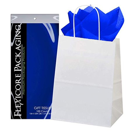 50ct White Paper Gift Bags + 100ct Sapphire Gift Tissue (Flexicore