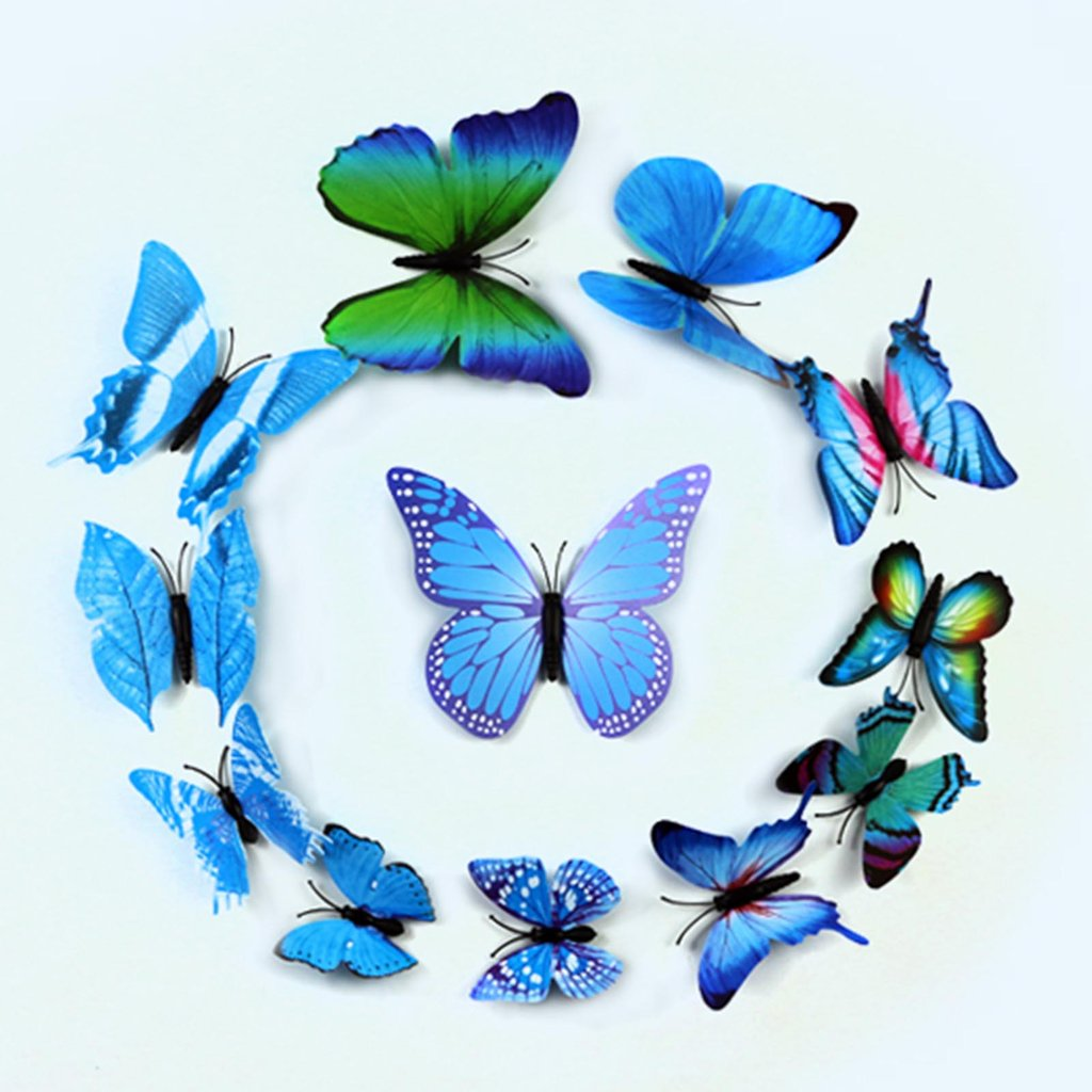 BalsaCircle 12 pcs 3D Butterfly Stickers DIY Wall Decals Crafts - Scrapbooking Wedding Party Favors Decorations Supplies