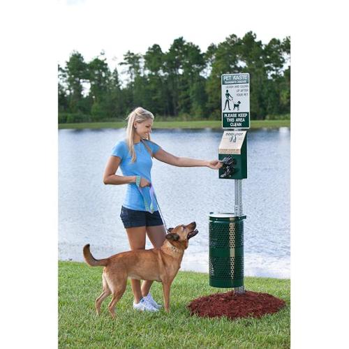 Dogipot 1003-L Aluminum Pet Station, Forest Green