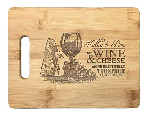 13 12 x 5 12 set Wine and Cheese 6 pcs Personalized Glass cutting board