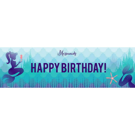 Mermaids Under the Sea Birthday Banner, Standard for $<!---->